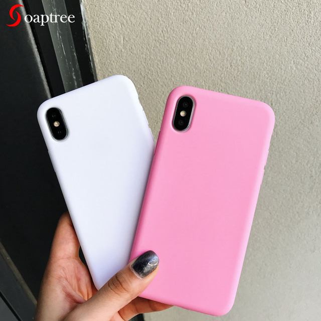 Funda Color caramelo para iPhone 7 8X6 S funda para iPhone 6 7 8 Plus 5 5S Simple funda mate de silicona suave para iPhone XR XS Max