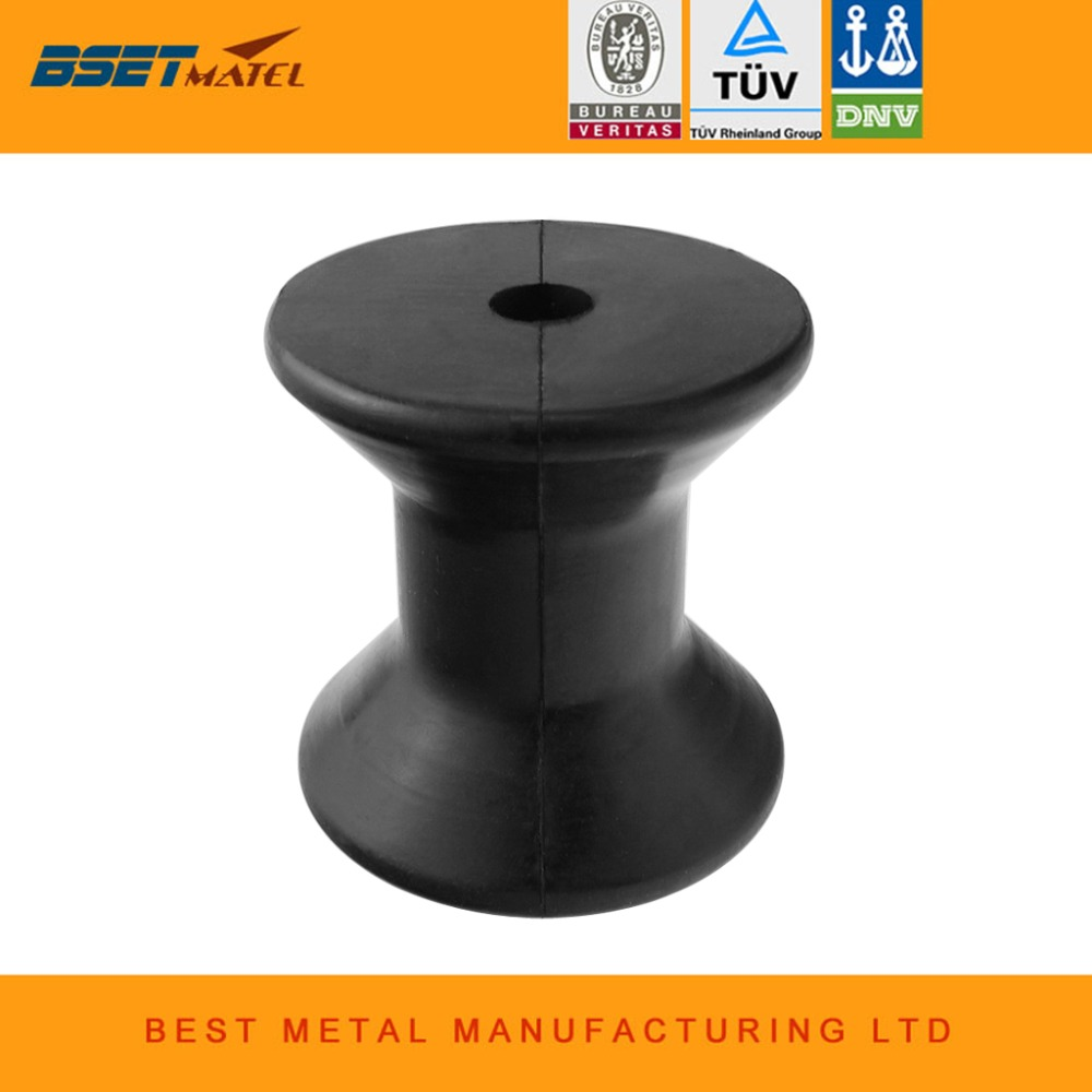 High Quality Anti-UV 3 Inch Mounting Width Boat Trailer Bow Stop Roller Black Rubber Spool Boat Yacht Accessories