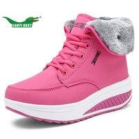 LANTI KAST Winter Women Running Shoes Plus Fur Keep Warm Height Increasing Waterproof Boots Woman Outdoor