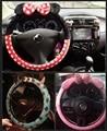 Милый мультфильм рулевого колеса автомобиля зима плюшевые с бантом микки панда миньон женщины девушки колеса автотентами стиль украшения