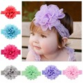 1PCS New Hair Accessories Baby Girls Lace Headband Big Chiffon Flower Hairband Infant Toddler Girl DIY Hair Weave Band 12color
