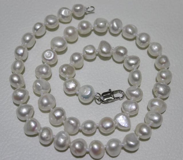 """Encanto de plata accesorio brilló> Nueva 10-12mm blanco barroco cultivadas de agua dulce Collar de perlas 18"""""""