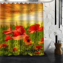 Best Nice Custom Poppies Flowers Poppy Shower Curtain Bath Waterproof Fabric Bathroom MORE SIZE