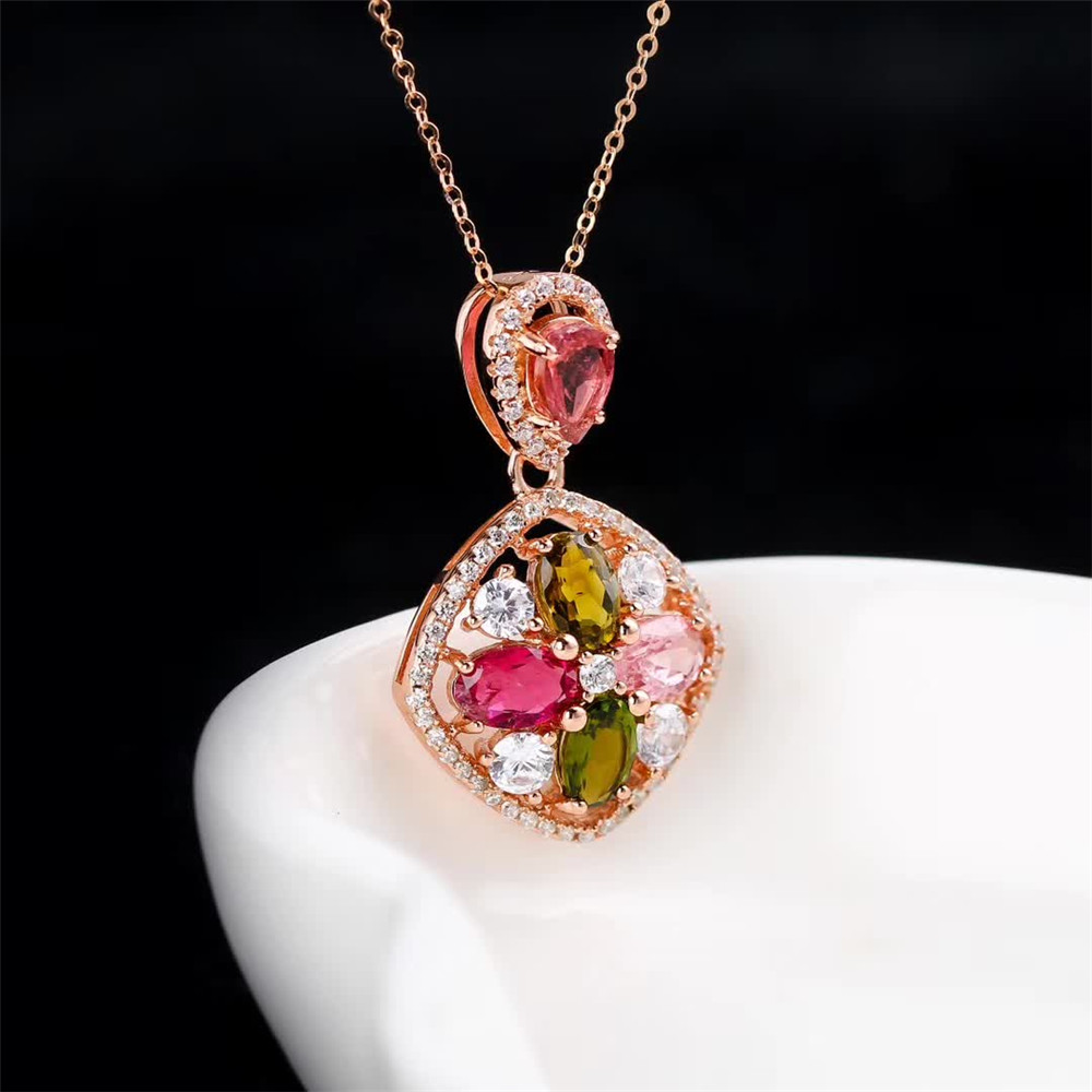 SGARIT wholesale luxury trendy gold plated 925 sterling silver gemstone colorful natural tourmaline big pendant necklace jewelry 1