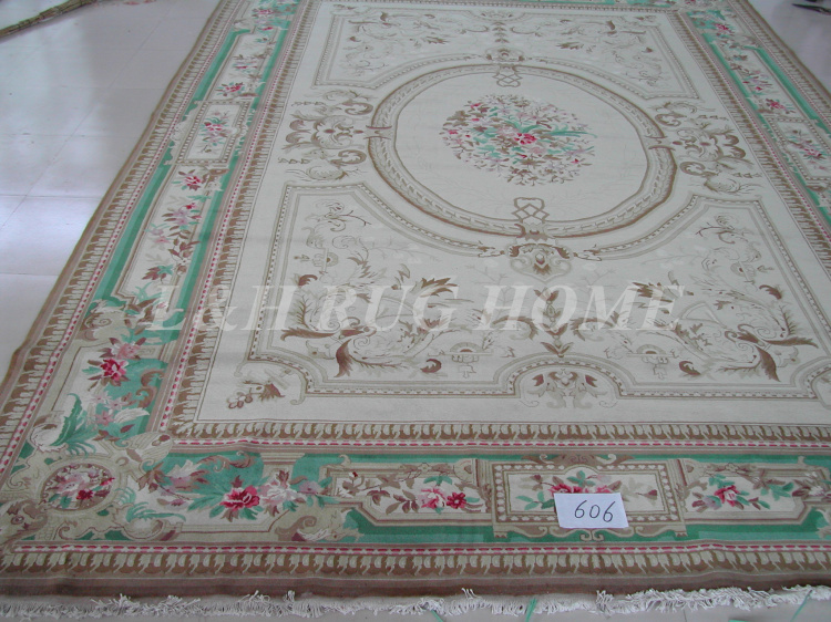 Envío gratis 12'x18 '160 Line Savonnerie alfombra diseño floral, - Textiles para el hogar