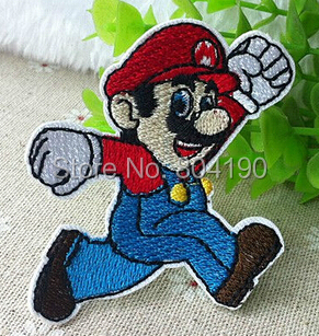 Super Mario Brothers Fighting Lovely Cartoon Children Embroidered Iron On Patch Applique Badge clothes application dropship