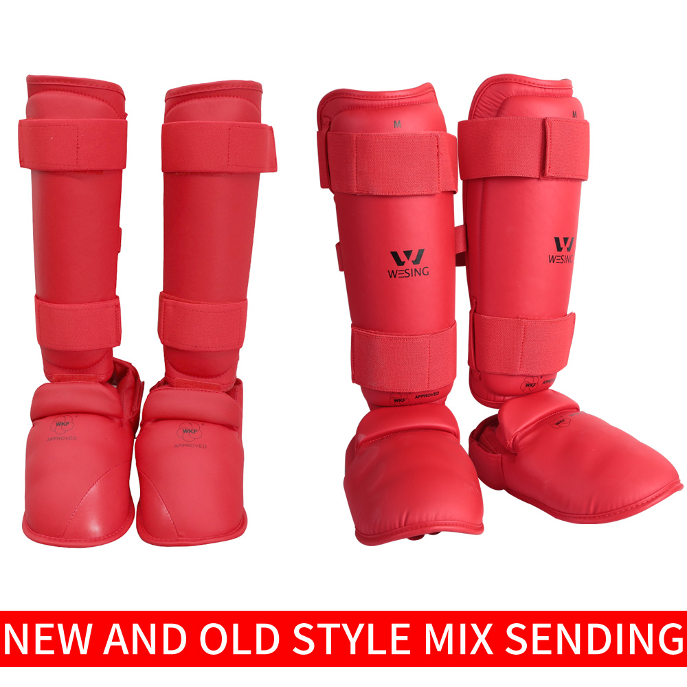 цена на WKF karate shin and instep guard free shipping wesing karate shin pad for competetion