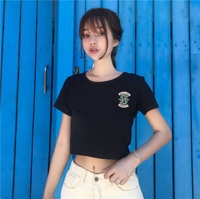 Summer Riverdale Animal Print T Shirt Women Vogue Harajuku Black Short Sleeve Crop Top Tshirt Women Snake Print T-shirt Women