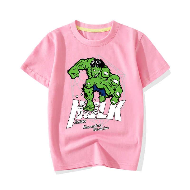 Big Boy Girl verano dibujo de héroe Hulk estampado camisetas ropa niños bebé lindo Rosa Camisetas manga corta Camiseta ropa JY011