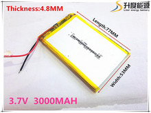 Size 485377 3.7V 3000 mah Lithium polymer Battery With Protection Board For GPS Tablet PC Digital Products Free Shipping