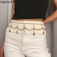 Ingemark Sexy Gypsy Gold Color Belly Chain Waist Beach Outfit Multi-layer Full Tassel Coin Belt Chains Women Jeans Body Jewelry