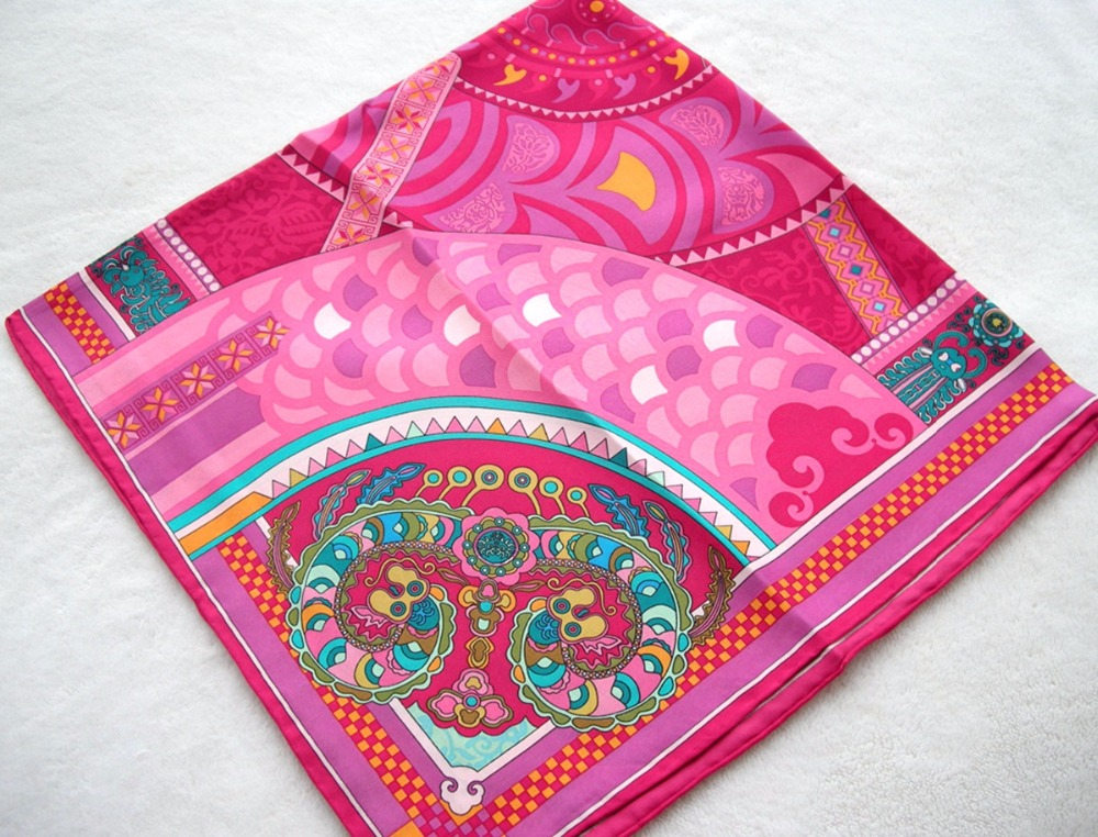 2015 New Charm Red Hand Roll-Hemmed Silk Twill Women Pure Silk Scarf Infinity Square Shawl