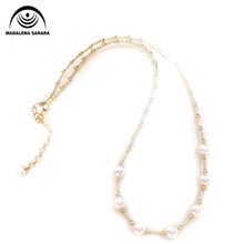 MADALENA SARARA AAA 8mm Freshwater Pearl Strand Necklace Natural White Chain Necklace European Style Handmade(China)