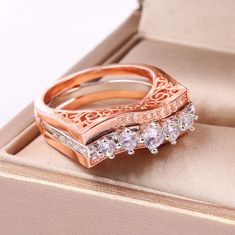 New Arrival Rose Gold Silver Big Ring Set with Zircon Stone for Women Fashion Wedding Engagement Jewelry in Rings from Jewelry Accessories