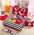 3/4 pcs algodón juegos de cama hoja de cama colcha de dibujos animados doble/queen/king mickey mouse juego de edredón