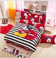 3/4 pcs cotton bedding sets cartoon bed sheet bedspread twin/queen/king mickey mouse comforter set