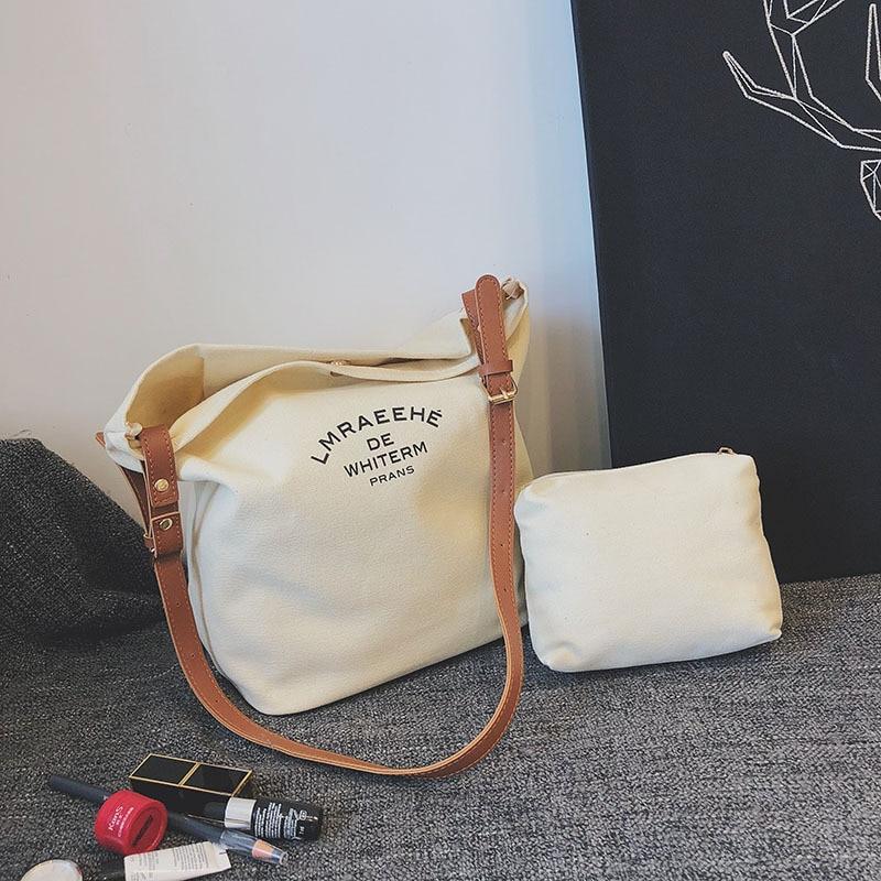 Women's Crossbody Bags Canvas Bag Shoulder Messenger Bags Solid Color Bucket Bag Handbag Female
