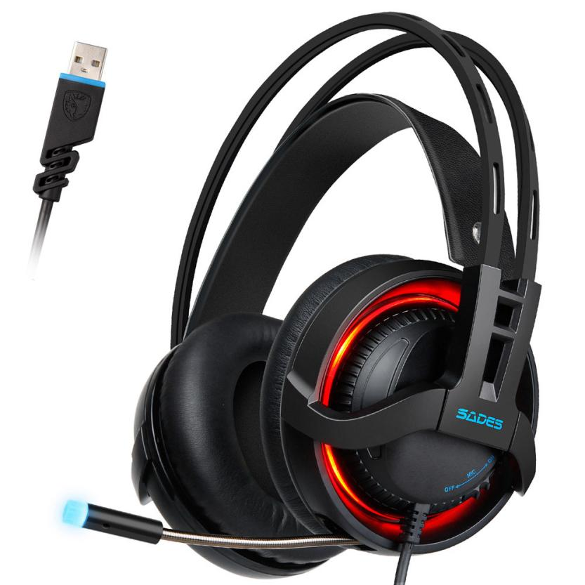 High-end USB Headband Mic Headphones Colorful LED Light Stereo Wired Surround Gaming Headphone Headset for PC Game Lovers Nov27