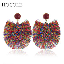 Bohemian Rhinestone Water Drop Tassel Earrings Handmade Multicolored Fringed Dangle Earring For Women boucle doreille