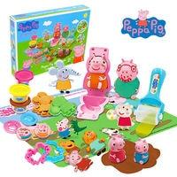 2018 original Peppa Pig Deluxe Modeling Clay kids toy Set Brand Peppa Pig & friend bakes a cake Ice cream set toy original box