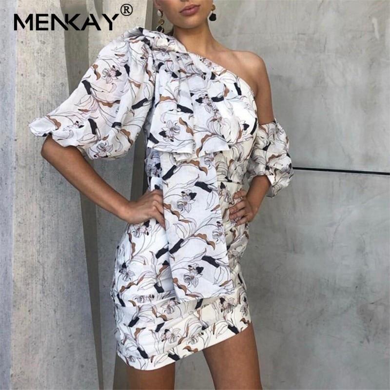 [MENKAY] été imprimer épaule dénudée femme robe col asymétrique manches bouffantes taille haute Mini plage robes femme 2019 nouveau