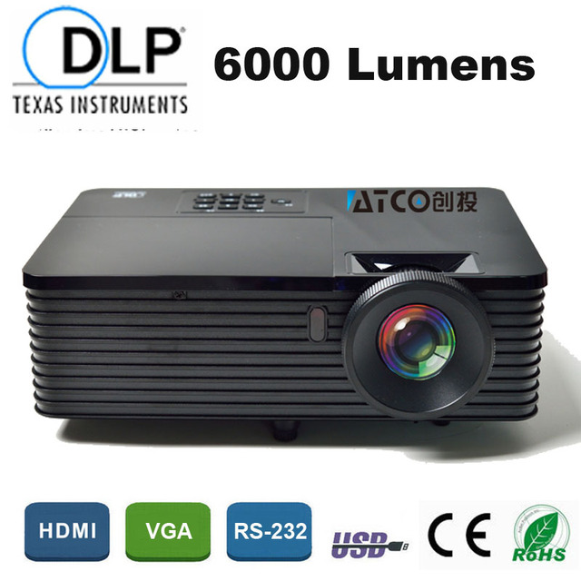 Education Advertising Rear Film 1080P HD DLP Beamer Projector 6000ANSI 15000:1 High Brightness data show 3D Movie HDMI USB RJ45