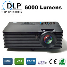 Schooling Promoting Rear Movie 1080P HD DLP Beamer Projector 6000ANSI 15000:1 Excessive Brightness knowledge present 3D Film HDMI USB RJ45