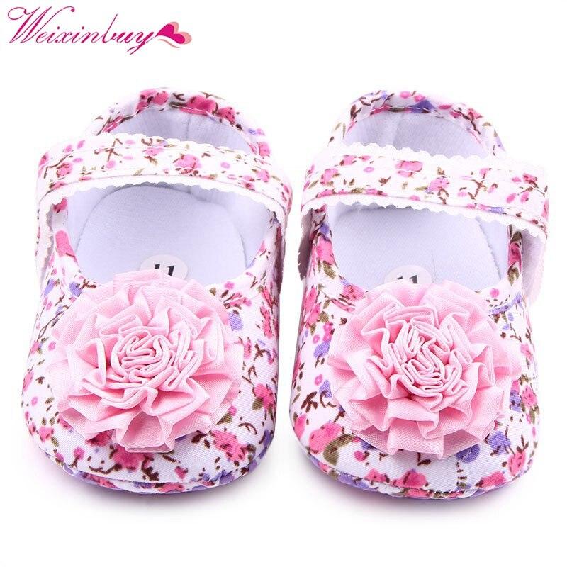 Pink Lovely Newborn Baby Infant Toddler First Walkers Big Flower Shoes Princess Ballet Dress Soft Soled Anti-slip Footwear Shoes