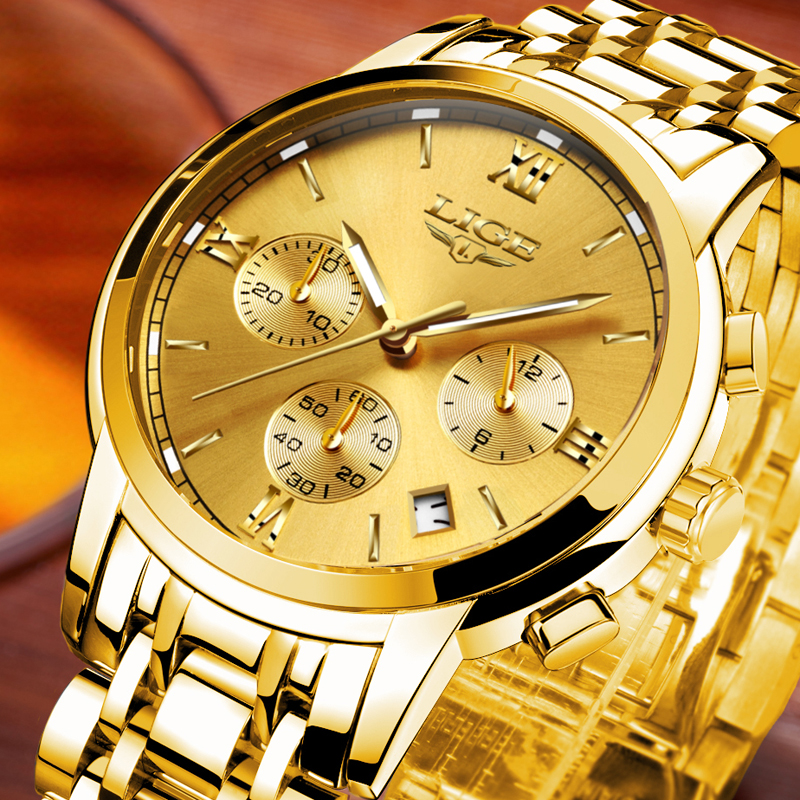 Fashion Gold Quartz Watch Men Sport Waterproof Clock Man Full Steel Business Wristwatches LIGE Luxury Brand Watches Relojes муфта для труб соединительная экопласт d32 мм 5 шт