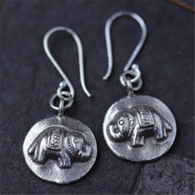 Original India Thailand Ancient 925 Sterling Silver Earring Round Elephant Handmade Hippie Animal Tribe Jewelry(China)