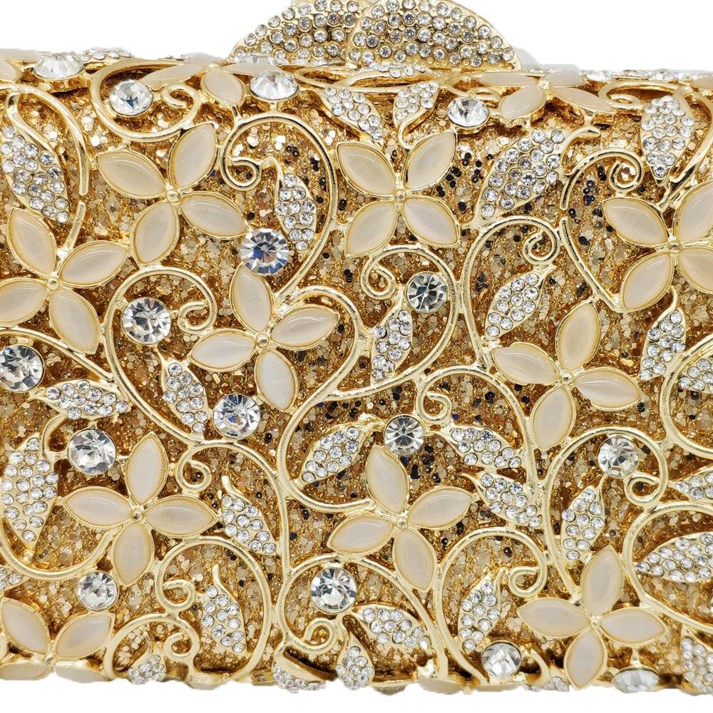 Boutique De FGG elegancki kwiat kobiety kryształ wieczór Clutch Minaudiere torby damskie metalowe sprzęgła torebka koktajlowa torebka imprezowa w Torby z uchwytem od Bagaże i torby na  Grupa 2