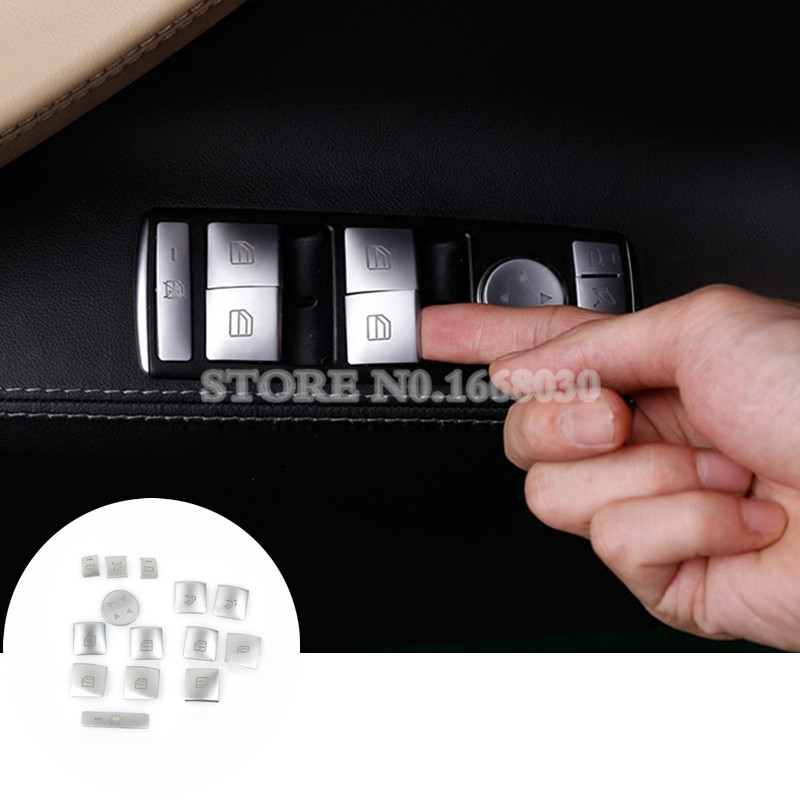 Inner Door Window Switch Button Trim Cover 14pcs For Benz E Class W212 S212 Coupe W207