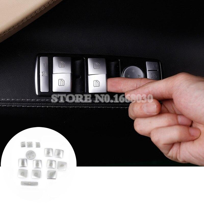 Intérieure Porte Fenêtre Interrupteur Bouton Garniture Couverture 14 pcs Pour Benz Classe E W212 S212 Coupé W207 C207