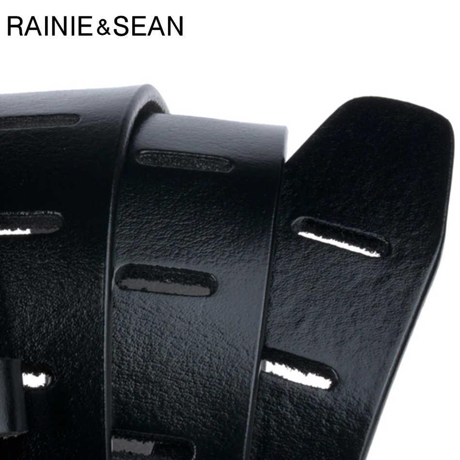 Rainie Sean Kasual Sabuk untuk Pria Kulit Asli Pin Gesper Sabuk Kopi Vintage Merek Kulit Asli Kulit Sapi Jeans Sabuk Pria 130 Cm