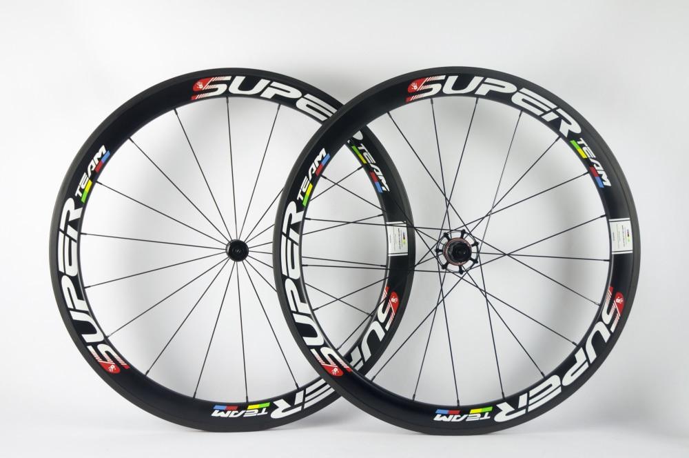 SuperTeam 50mm carbon clincher wheelset 700C UD Matte Road wheels
