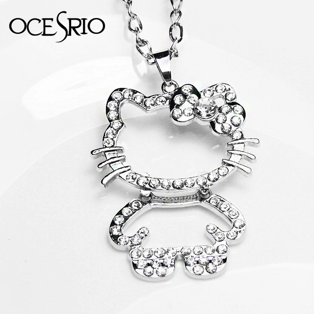 6b67d409b Cute Hello kitty Jewelry Hollow Out Big Kitty Cat Silver Link Chain Pendant  Necklaces for Girls Fashion Necklace Women nke-e35