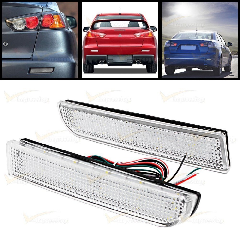 Bumper Reflector Clear Len Tail Brake Stop LED Light For Mitsubishi Lancer EVO X 2008-15
