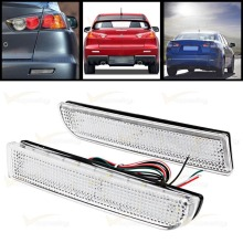 CYAN SOIL BAY Bumper Reflector Clear Len Tail Brake Stop LED Light For Mitsubishi Lancer EVO X 2008-15