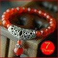 Mulheres pulseira étnica, new vintage tibetano pulseira de prata pulseira, moda jóias chinês charme ágata contas bracelt vermelho