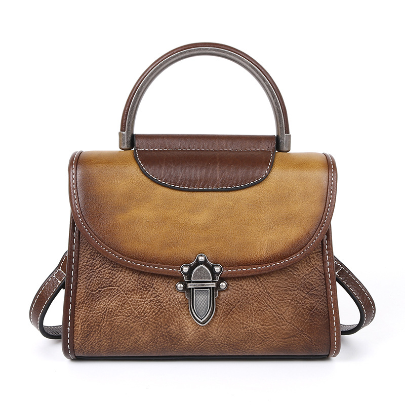 Ougger Small Crossbody Ladies Bags Vintage Style Yellow Genuine Leather Flap Bag for Business