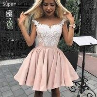 SuperKimJo Vestidos De Graduacion 2019 розовые платья короткая кружевная Длина колена платье Vestido Curto