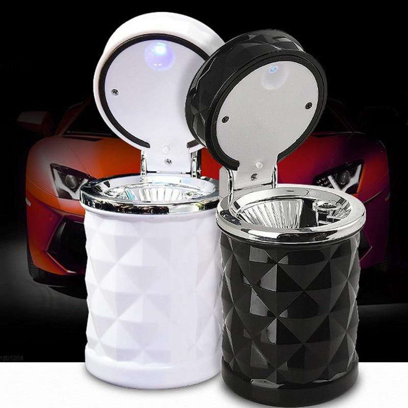 Luxury Portable LED Light Car Ashtray Car Accessories Universal Cigarette Cylinder Holder Car Styling Smoke Storage