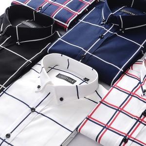 Image 5 - Männer Große Plaid und Überprüfen Pflegeleicht Baumwolle Hemd Lange Sleeve Standard fit Taste Unten Kragen Casual gingham Shirts