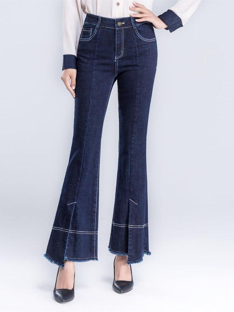 Mujeres Jeans Primavera De Elástico Y Cintura Otoño Irregular Denim Ocasionales Las Alta Flare Estiramiento Mujer Longitud Pantalones Tobillo rPIqPxwHp