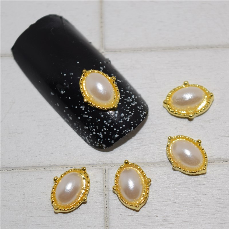 10psc New Golden Horse eye pearl 3D Nail Art Decorations,Alloy Nail Charms,Nails Rhinestones  Nail Supplies #210 10psc new pearl colored flow glitter rhinestones 3d nail art decorations alloy nail charms nails rhinestones nail supplies 687