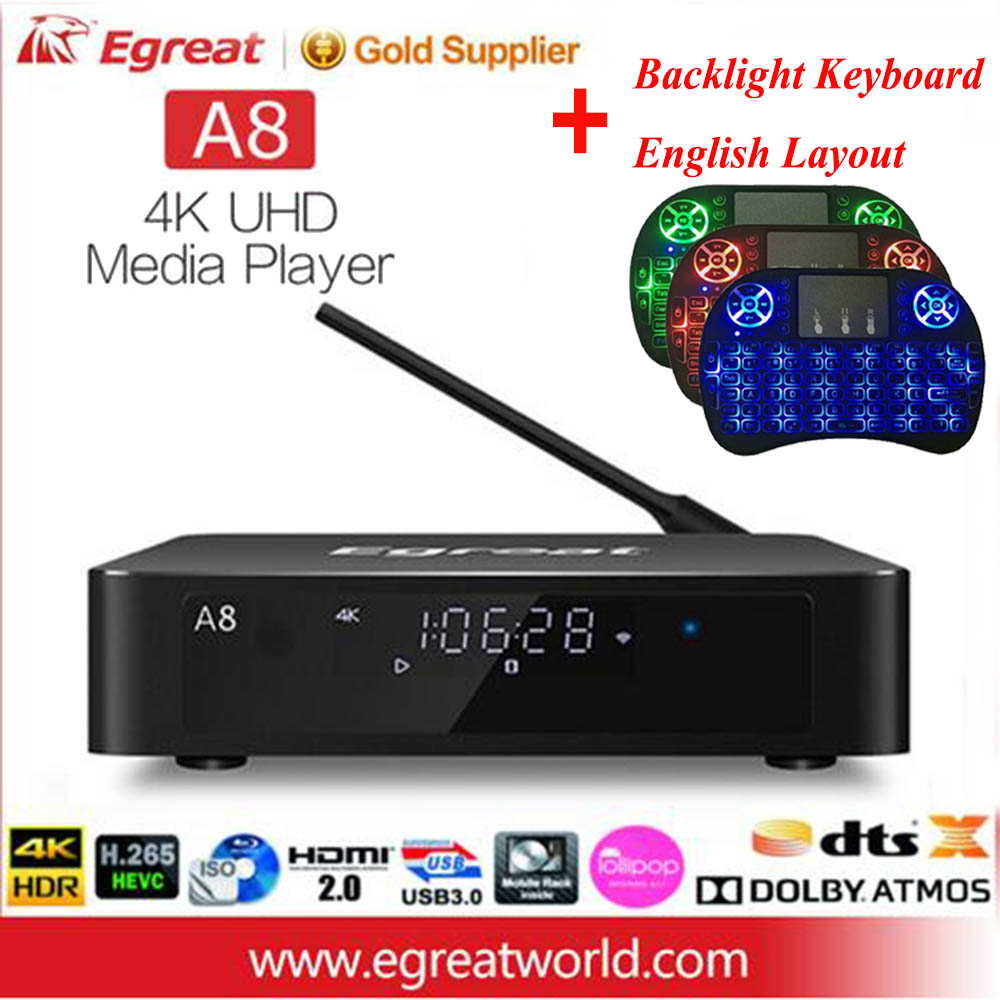 Egreat A8 Super HD 4 k 60 hz Android TV Box Soutien BD Menu 3.5 pouce HDD SATA HDR10 WiFi bluetooth 4.0 Dolby DTS-HD Media Player