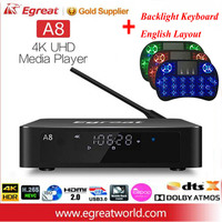 Egreat A8 Super HD 4k 60 Гц Android ТВ коробка Поддержка BD меню 3,5 дюймов HDD SATA HDR10 Wi Fi Bluetooth 4,0 Dolby DTS HD Media Player