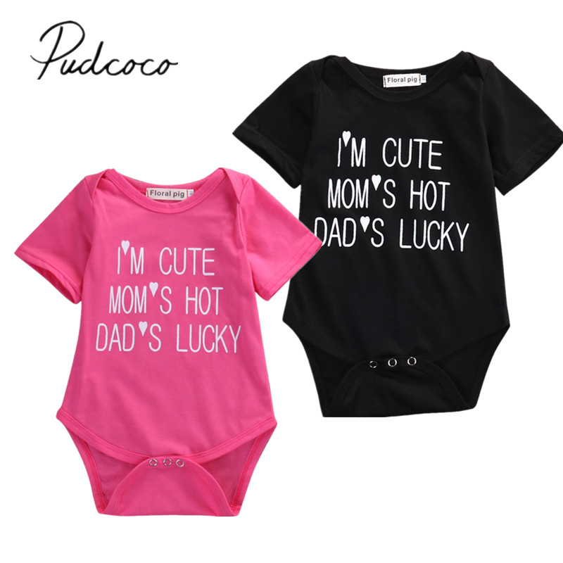 ba5c81ef3d98a Detail Feedback Questions about 2018 Brand New Summer Toddler Baby Girls  Boys Cotton Bodysuits Short Sleeve Letter Print Black Jumpsuits Casual  Outfit 0 18M ...