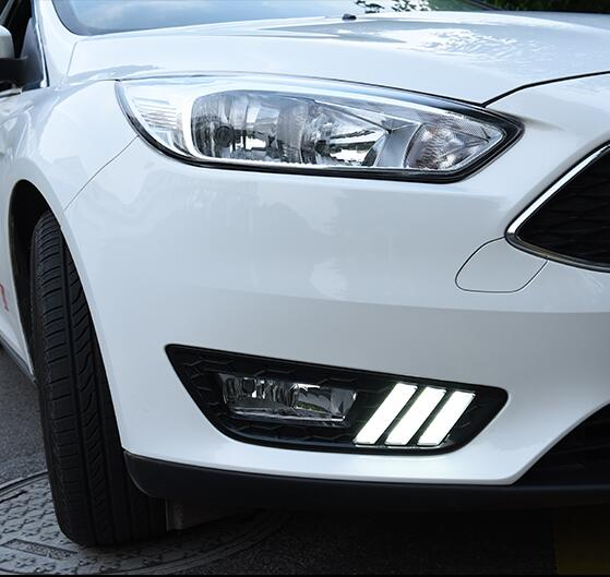 ФОТО Hireno Super-bright LED Daytime Running Light for Ford Focus 2015 2016 2017 Car LED DRL fog lamp 2PCS