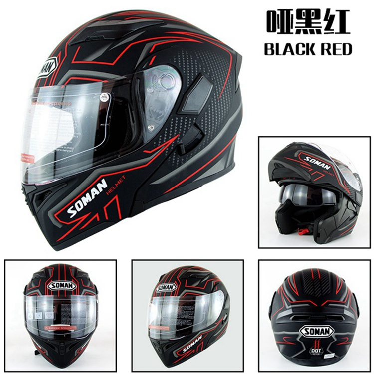 Built-in Bluetooth Helmet Double Lens Motorcycle Helmets Flip up Motor bike Capacete Casco DOT Approval SoMan 955-BT free shipping 2015 new flip up motorcycle helmet double lens inner sun visor dot approved casco capacete